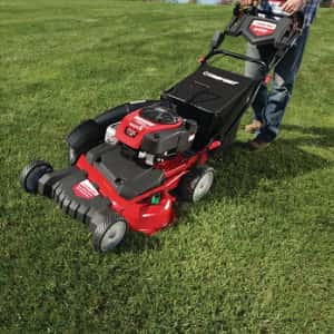 Red lawnmower cutting lush dark green lawn