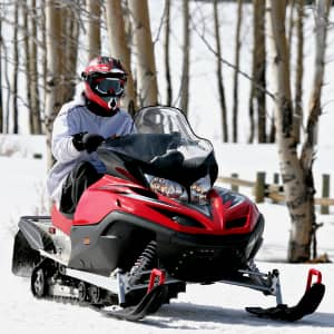 Solo snowmobile rider