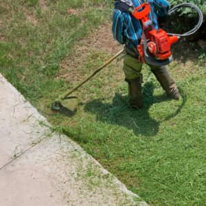 Weed trimmer in use by landscaper