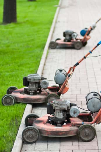 Multiple older lawnmowers in a row